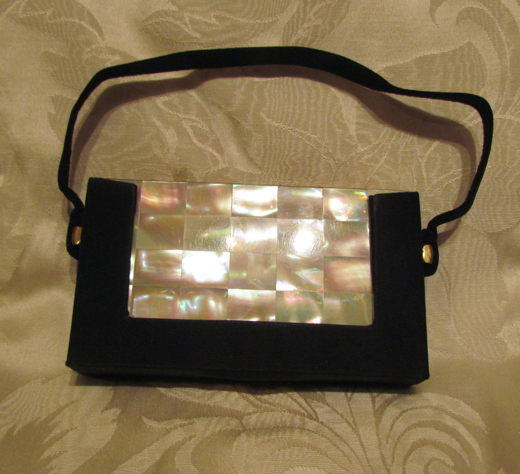 Mother Of Pearl Carryall Compact Purse Vintage 1950s Mad Men Cigarette Case Formal Moire Bag Excellent Condition