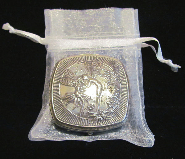 1920's Djer Kiss Silver Plated Kissing Fairies Powder & Rouge Compact