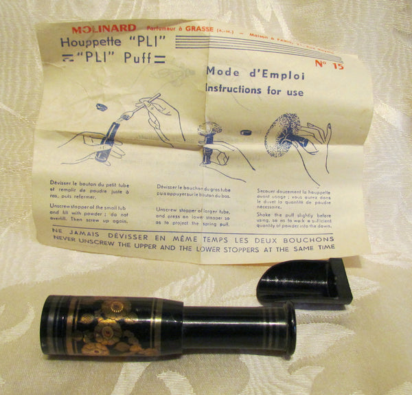 French Brevet Houppette PLI Down Powder Puff By Molinard Complete In Original Box