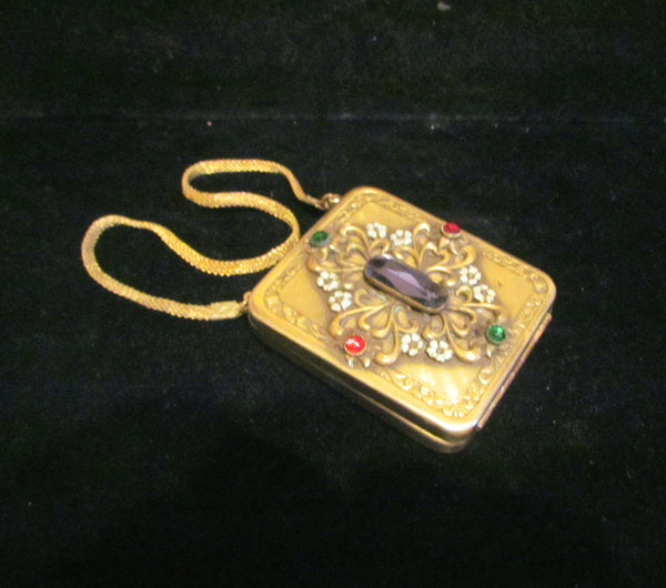 Antique Jeweled Compact Purse 1800's Gold Ormolu Mesh Wristlet Purse Victorian Dance Purse