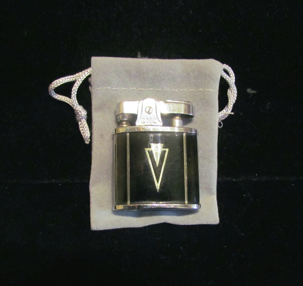 Art Deco Pocket Lighter Continental Silver & Black Enamel 1940's Purse Lighter Excellent Working Condition