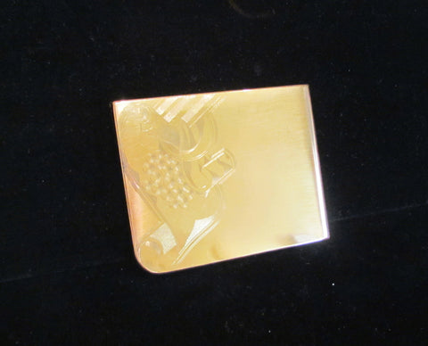 1940's Elgin Cigarette Case Gold Business Card Case Etched Pattern
