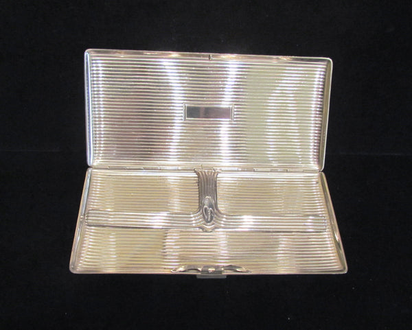 Silver Tone Evans Cigarette Case 1940's Business Card Holder Art Deco