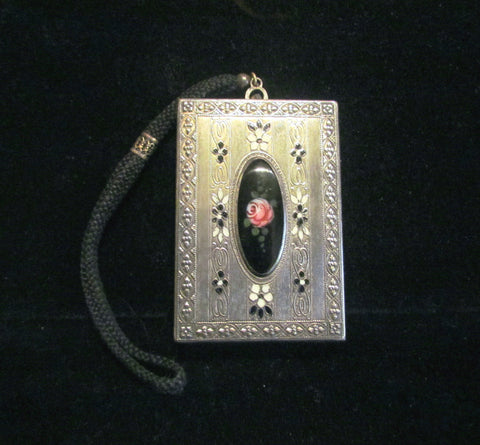 1900s Silver Compact Wristlet Purse Enamel Powder Rouge Lipstick Mirror Dance Purse