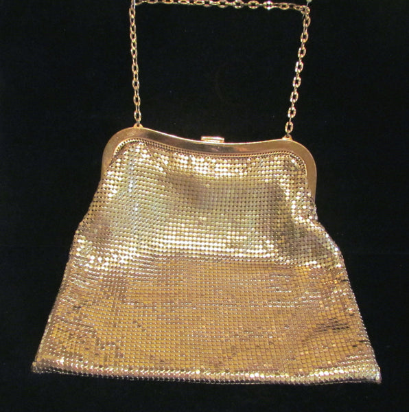 Whiting & Davis Gold Mesh Purse Rhinestone Clasp Vintage Art Deco Purse EXCELLENT CONDITION