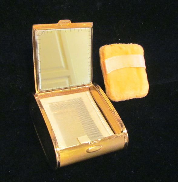 1950s Gold Pillow Powder Compact Pink Rhinestone Vanity Compact UNIQUE