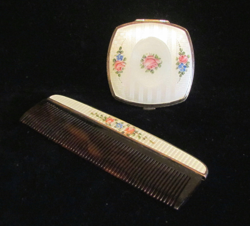 1930's Finberg Guilloche Compact & Comb Set Excellent Condition
