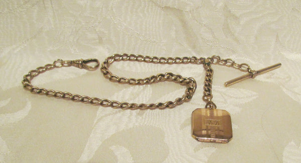 14kt Solid Gold Pocket Watch Chain & Photo Locket Fob 1890's Victorian
