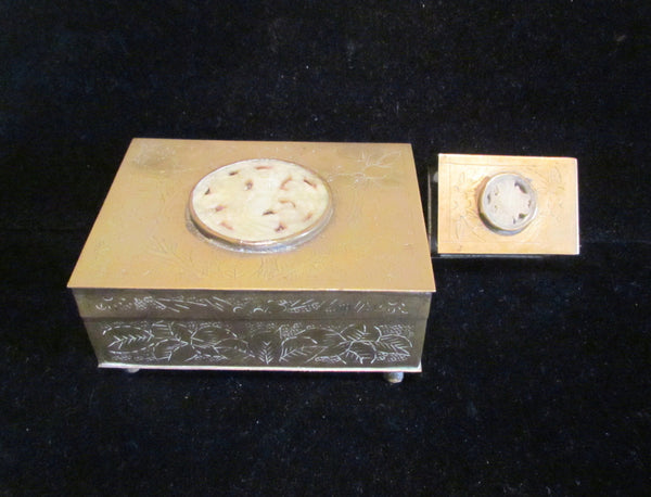 Asian Cigarette Box & Match Box Holder Safe 1950's Brass Tabletop Cedar Lined Case Smokers Gift Set