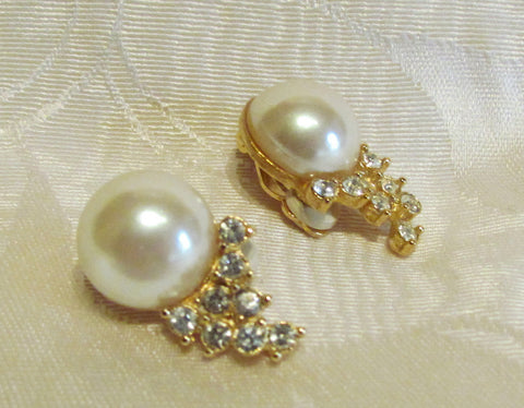 1950s Gold Pearl And Rhinestone Clip On Earrings Bridal Or Wedding