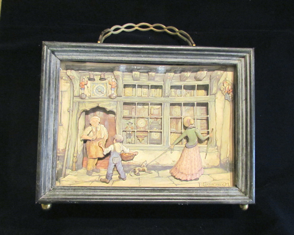 Wood Box Purse 1940s Anton Pieck 3D Picture Handmade Box Victorian Style Purse OOAK