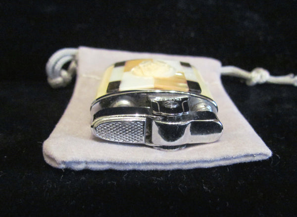 Art Deco Rodan Silver Lighter Mother Of Pearl & Abalone Vintage Ladies Unused Working Lighter