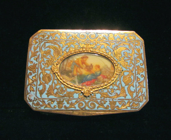 Antique Compact Italian Champleve Enamel Gold Gilt Powder Box Victorian Courting Scene RARE
