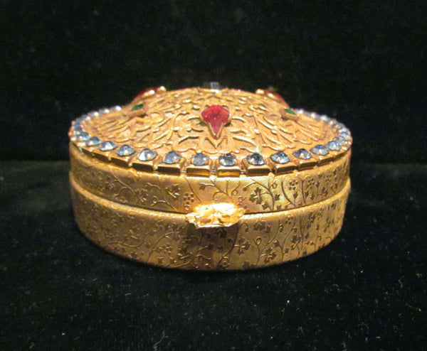 1800's French Ormolu Jeweled Powder Box Vanity Powder Jar Large Compact With Puff