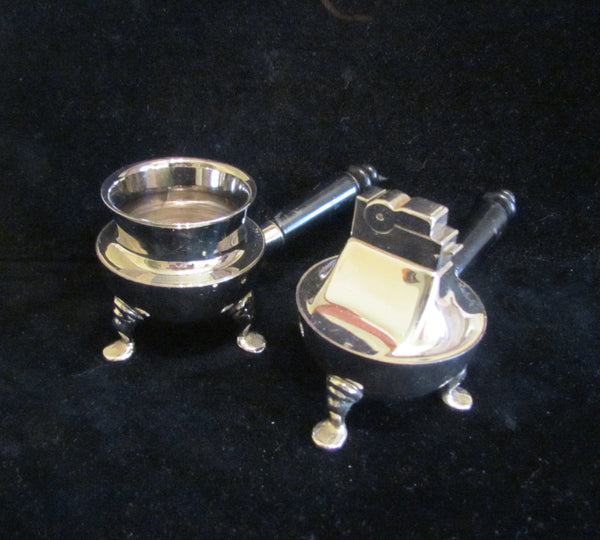 Mid Century Chrome Ashtray & Lighter Set 1950's ASR Table Lighter & Ashtray