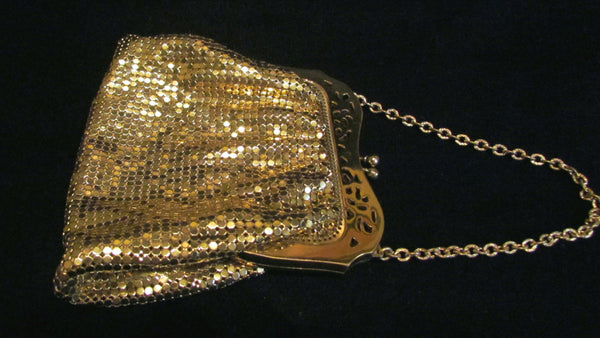 1940s Whiting & Davis Purse Gold Mesh Evening Bag Wedding Bridal Handbag Excellent Condition Boxed