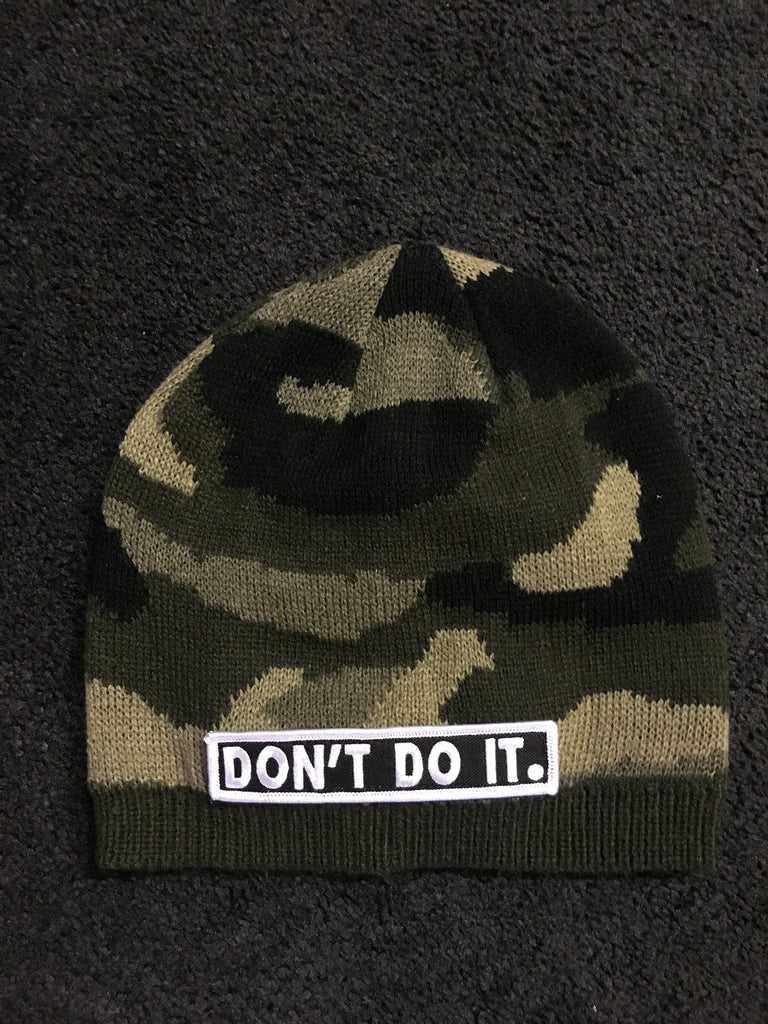 Camo Skull Cap Don't Do It Beanie with Patch