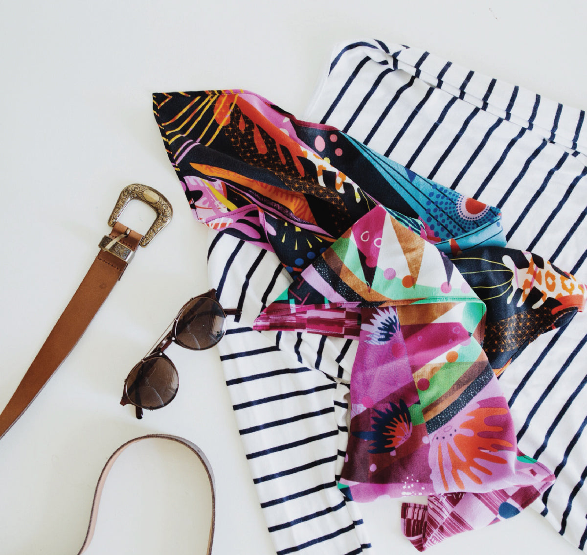 Shop The Dress Collective's range of Melbourne emerging, sustainable and ethical fashion designer Letitia Green for Australian made scarves and hand printed accessories