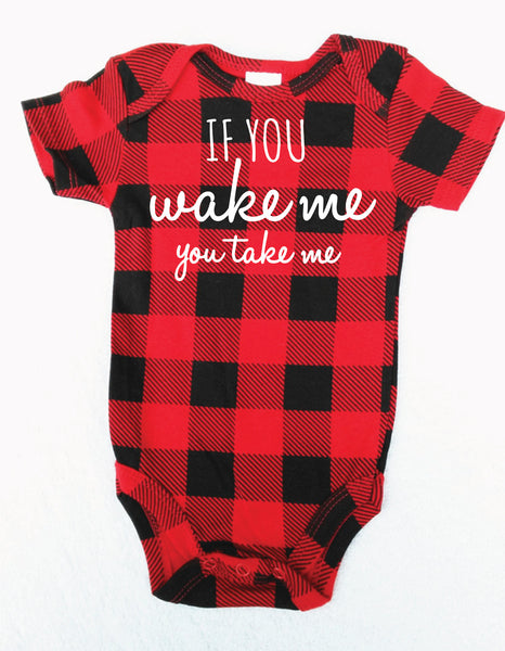 """If You Wake Me You Take Me"" Hipster Onesie"