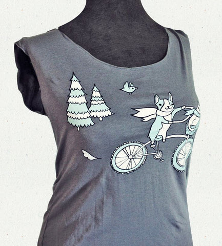 Bike Animals - Ladies Large Scoop Neck Top