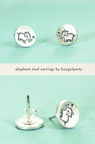 Silver Elephant Earrings by Susie Ghahremani / boygirlparty.com