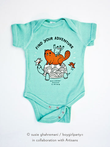 Find Your Adventure! Animal Baby Onesie (Seafoam)