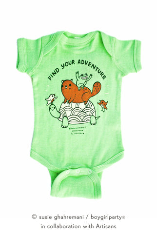 Find Your Adventure! Animal Baby Onesie (Green)