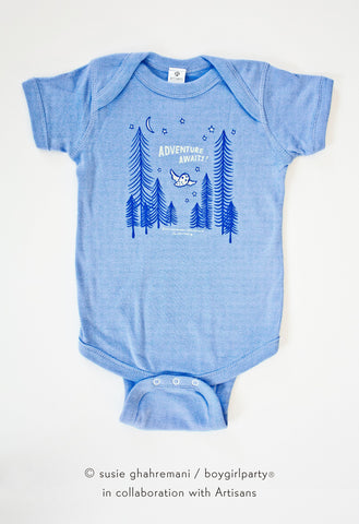 Adventure Awaits Baby Onesie -- Owl / Forest Baby Outfit