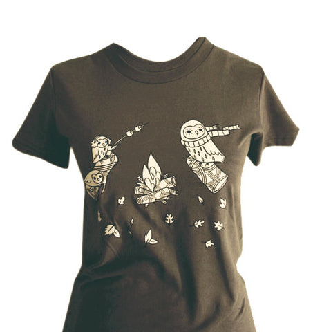 Campfire Owl T-shirt (Army Brown) by Susie Ghahremani / boygirlparty.com