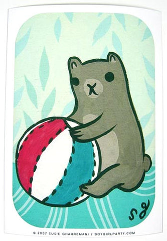Beach Ball Bear Art Print (Signed) by Susie Ghahremani / boygirlparty.com