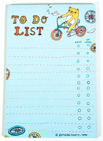 Bear Bike To-Do List Notepad by Susie Ghahremani / boygirlparty.com