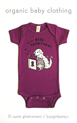 Baby Storytime Onesie -- Let's Read Together Organic Baby Onesie (Berry)