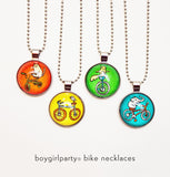 Glass Bicycle Necklaces by Susie Ghahremani / boygirlparty.com