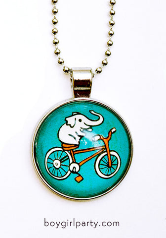 Elephant Bicycle Necklace by Susie Ghahremani / boygirlparty.com