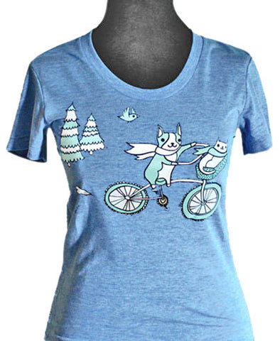 Bike Animals T-shirt (Vintage Blue) by Susie Ghahremani / boygirlparty.com