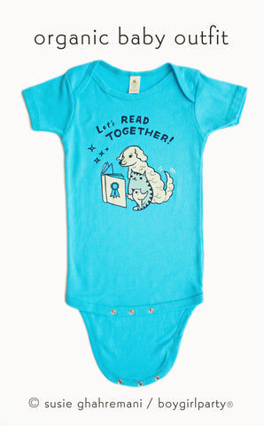 SALE: Let's Read Together Organic Baby Onesie (Turquoise Blue)