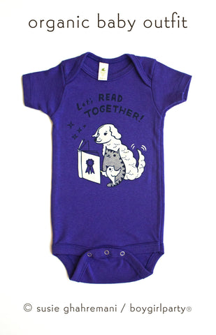 SALE: Let's Read Together Organic Baby Onesie (Grape)