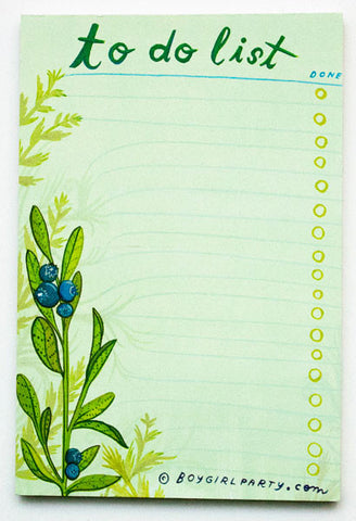 Blueberry To-Do List Notepad by Susie Ghahremani / boygirlparty.com