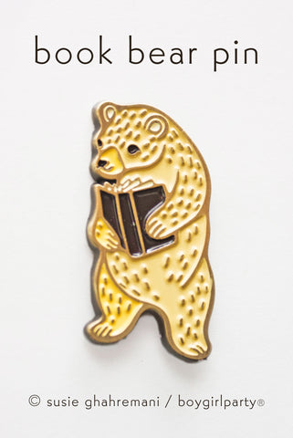 Book Bear Enamel Pin -- Bookish Lapel Pin by boygirlparty