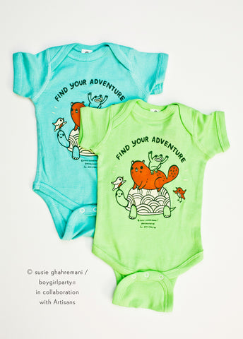 SALE: Find Your Adventure! Animal Baby Onesie (Green)
