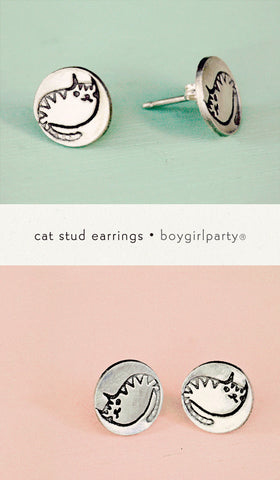 Silver Cat Earrings by Susie Ghahremani / boygirlparty.com