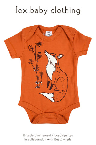 Organic Fox Baby Clothing by boygirlparty - Woodland Fox Onesie by Susie Ghahremani / boygirlparty.com