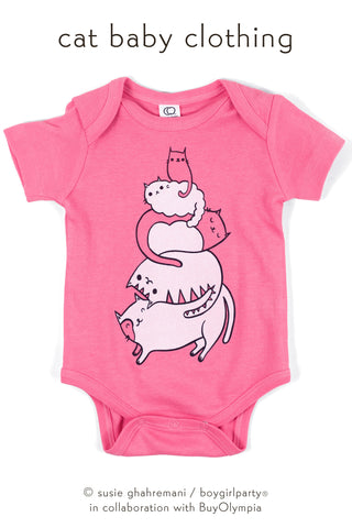 Organic Cat Baby Clothing by boygirlparty - Stack the Cats Baby Onesie by Susie Ghahremani / boygirlparty.com