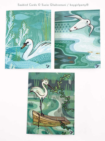 Notecard Set (of 3) - Seabird Cards by Susie Ghahremani / shop.boygirlparty.com