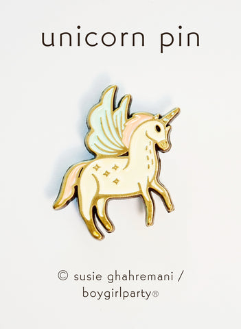 Unicorn Enamel Pin by boygirlparty - Pegasus Unicorn Pin - Flying Unicorn Jewelry