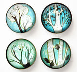 Winter Tree Magnet Set