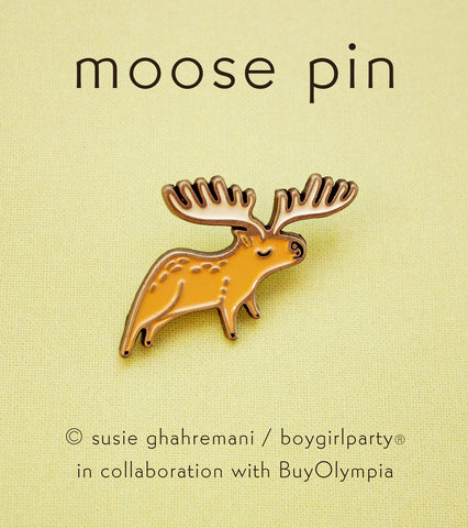 Moose Pin - Moose Enamel Pin by boygirlparty