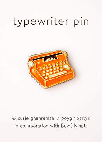 Typewriter Pin - Red Typewriter Enamel Pin Brooch by boygirlparty