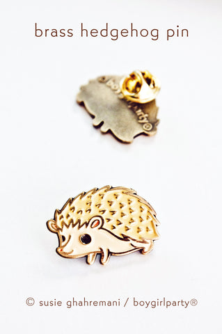 Enamel Pin - Limited Edition Brass Hedgehog Enamel Pin by Susie Ghahremani / boygirlparty.com
