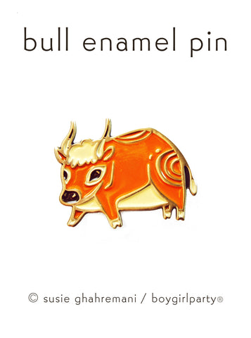 Bull Pin - Bull Enamel Pin by boygirlparty